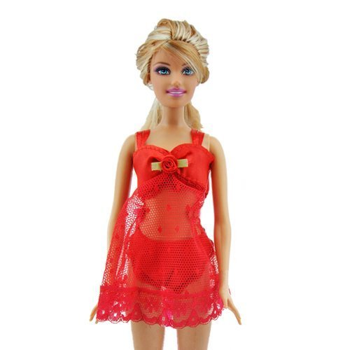 Yiding rot 3 STK. Schlafanzug Dessous Unterwäsche Kleid Kleidung für Barbie Puppen (Schiff von China mit Tracking No