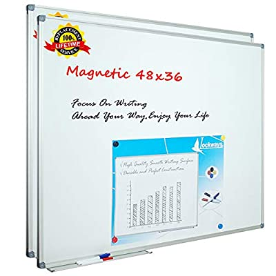 Lockways White Board Dry Erase Board 48 x 36 Inch, 2 Pack Magnetic Whiteboard for Office School and Home