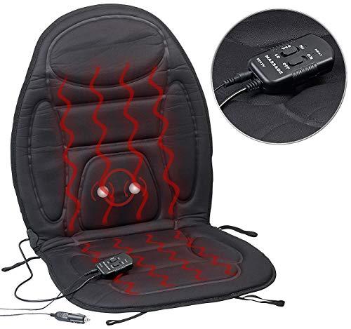Lescars Auto Sitzheizung: 2in1-Kfz-Sitzauflage mit Massage- und Heizfunktion, Fernbedienung (Massagesitz)
