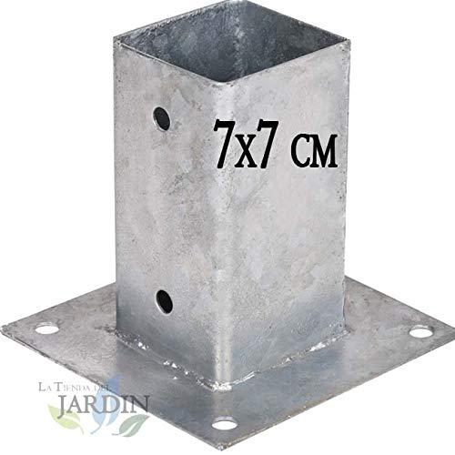 ANCLAJE CUADRADO METALICO 7x7 cm, base 15x15 cm. Ideal para postes de madera.