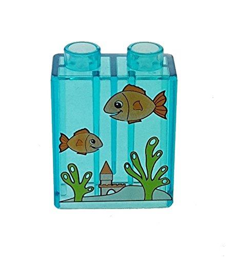 1 x Lego Duplo Motivstein 1x2x2 transparent hell blau mit Aquarium Fische 4066pb280 Set 4966 Ville Spielhaus