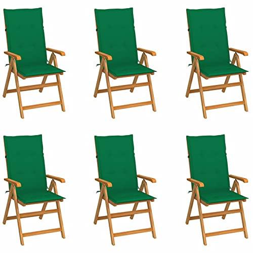 Tidyard 6X Sillas de Jardín Reclinables y Cojines con Respaldo Alto Ajustable en 7 Posiciones Sillon Tumbona para Terraza Playa Balcón Madera Teca Verde 57x71,5x109 cm