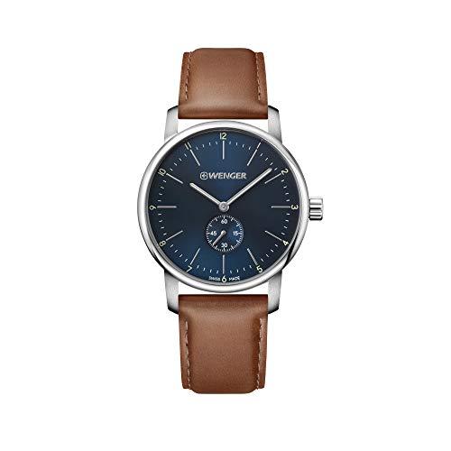 Wenger Hombre Urban Classic - Reloj de Acero Inoxidable/Cuero de Cuarzo analógico de fabricación Suiza 01.1741.103