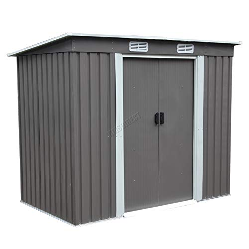 BIRCHTREE Garden Shed Metal Pent Roof 4FT X 7FT Outdoor Storage With Free Foundation Grey and White