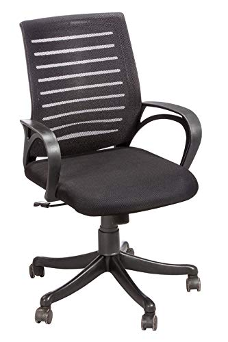 Da URBAN® Boom 06 Mid Back Mesh Revolving Chair with Wheels (Black) (1 Pc)