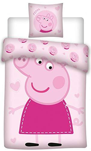 Peppa Pig Kids Cotton Duvet and Pillow Cover Set 140 x 200 cm, 60 x 63 cm