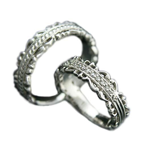 [ココカル]cococaru ペアリング シルバー リング2本セット ダイヤモンド マリッジリング 結婚指輪 日本製(レディースサイズ18号 メンズサイズ17号)