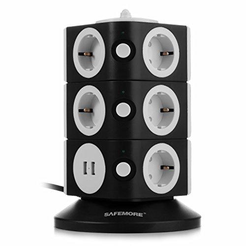 SAFEMORE Regleta de Enchufes Vertical de 11 Tomas Corrientes y 2 Rapida USB, Alargadora Cable de...