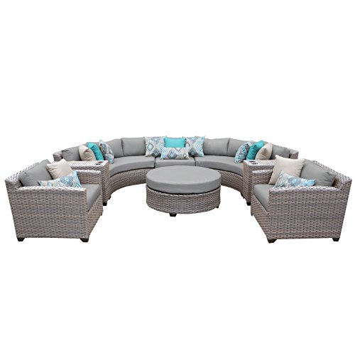 TK Classics FLORENCE-08e-GREY 8 Piece Outdoor Wicker Patio Furniture Set, Grey