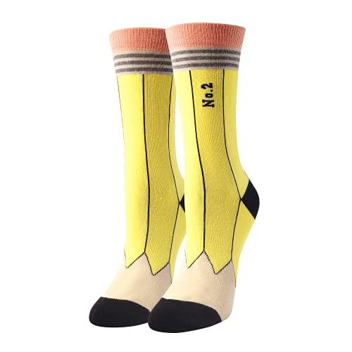 HAPPYPOP Pencil Socks for Women Girl, Crazy Gift for School Teacher Student Graduate