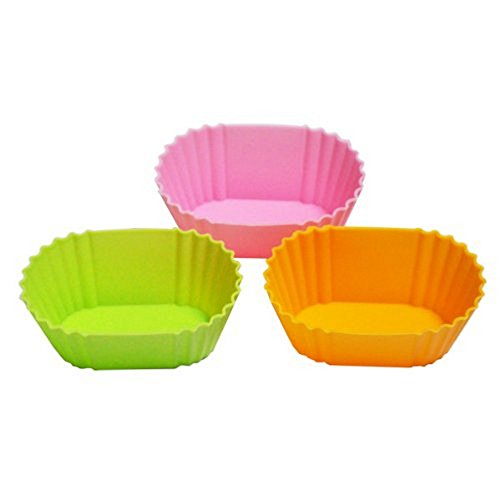 Japanbargain 3464, Set of 3 Reusable Silicone Cupcake Baking Cups BPA Free Non-Stick Muffin Liners Molds Sets Food-Grade Cups Oval Shape
