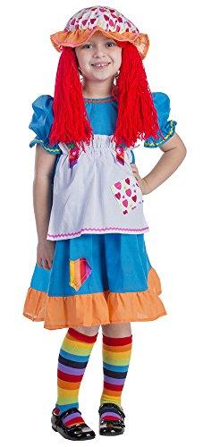 Viste a América - 775-T4 - Disfraz de Trapo muñeca de Trapo para Las niñas - 3-4 años -Size 97 cm