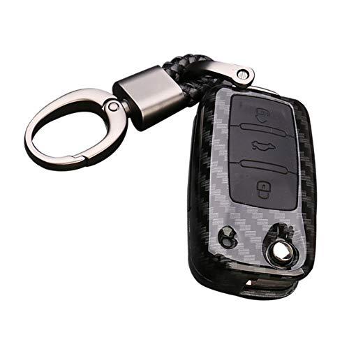 Happyit ABS koolstofvezel shell + silicone autosleutelafdekking case sleutelhanger voor Volkswagen VW Bora kever Tiguan Polo Passat Jetta zitting Sagitar Golf 6 zwart en zwart.