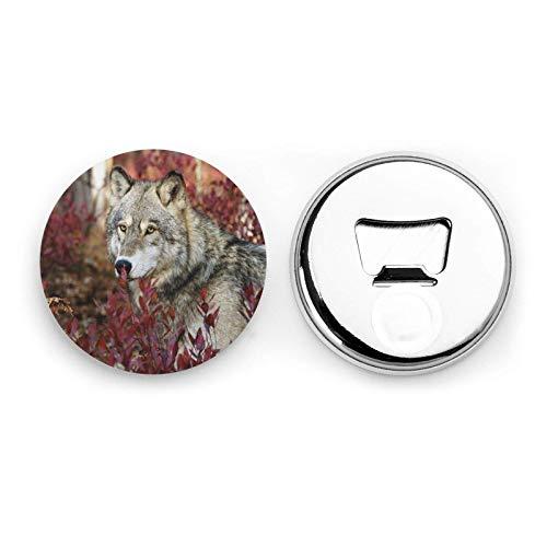Wolf In Red Forest Magneti da frigorifero Apribottiglie da birra Bottiglia di coca cola Apribottiglie per soda da cucina Magnete da cucina Apribottiglie Magnetico 2 pezzi