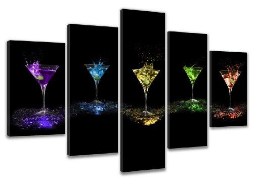 Visario Bild & Kunstdruck der Deutschen Marke 200 x 100 cm 6303 Bilder auf Leinwand Kunstdrucke Cocktail Gläser Wandbild