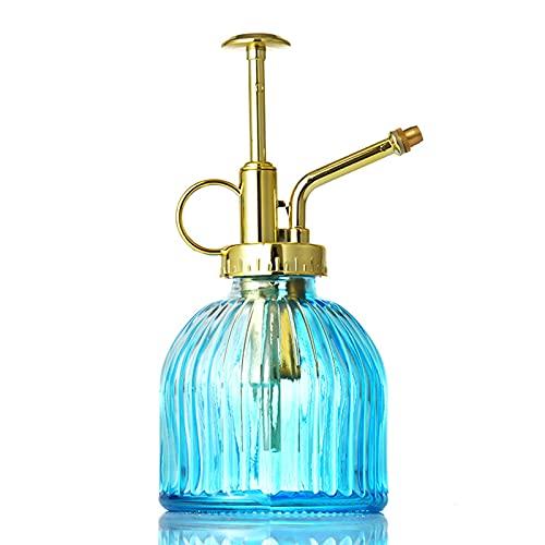 SLDHFE Botella de cristal para riego de 16,3 x 7,6 cm, botella de cristal con bomba de oro para plantas decorativas de estilo vintage para suculentas, jardín, plantas