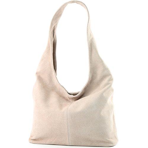 modamoda de - T150 - ital Schultertasche aus Leder Wildleder, Farbe:Rosabeige