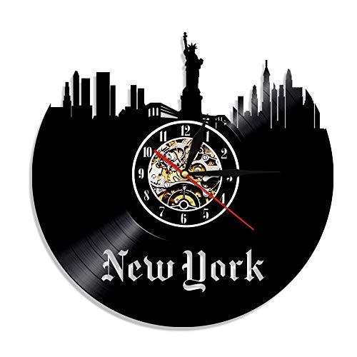 FDGFDG Freiheitsstatue New York Uhr USA Patriot Geschenk New York Cityscape Skyline Wandkunst Schallplatte LP Uhr