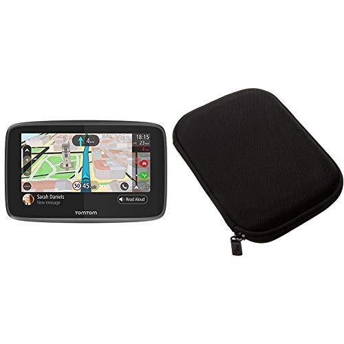 TomTom GO 5200 Pkw-Navi (5 Zoll mit Updates über Wi-Fi, Lebenslang Traffic via SIM-Karte, Weltkarten, Freisprechen) & Amazon Basics Hartschalenetui für 5-Zoll-Navigationsgeräte, schwarz