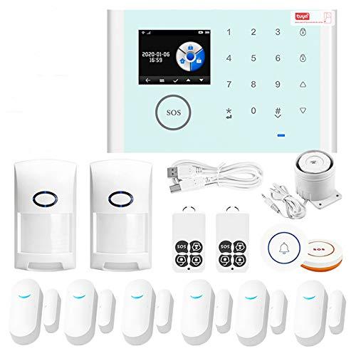 Tuya Smart Sistema de alarma antirrobo, WiFi/GSM/GPRS Kit de seguridad para el hogar de voz inteligente inalámbrico, compatible con Alexa/Asistente de Google