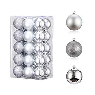 30PCS 40mm Christmas Ball Ornament, Shatterproof Christmas Decorations Tree Balls, Hanging Christmas Ornaments Baubles Set Hooks Included, for Holiday Wedding Party Decor, Tree Ornaments, Silver