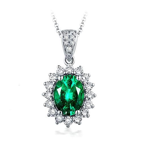 Daesar 18K Collana Oro Bianco Battesimo 0.75ct Smeraldo Diamante Verde Fiore Ovale Collane Ciondolo Pendentecollana Argento Girocollo
