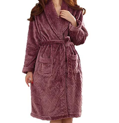 HaiDean Damen Winter Koralle Kaschmir Pyjamas Ärmel Lange Kleider Bade Männerhause Jungen Chic Service Bademantel Morgenmantel (Color : Rot, Size : L)