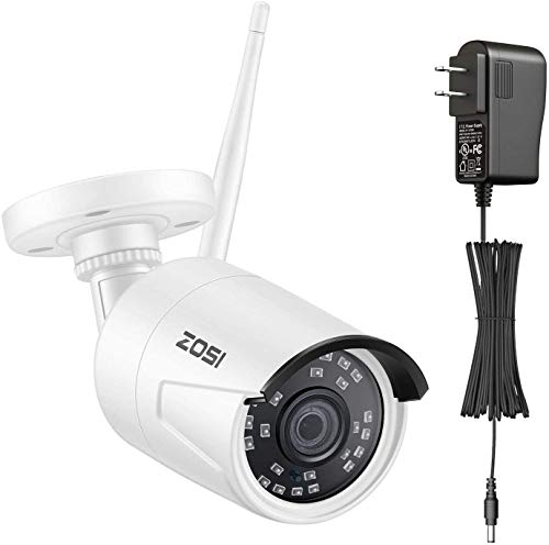 ZOSI ZG2322M Add-on Camera 1080P HD 2.0MP Wireless IP Network Camera Outdoor Indoor Security Camera with 1A Power Supply Only Compatible with ZOSI NVR Network Video Recroder System(Model:ZR08JP)
