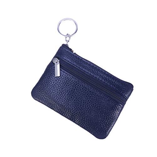 Vosarea sac de rangement en cuir zippé multifonctionnel mini sac de rangement (bleu foncé)