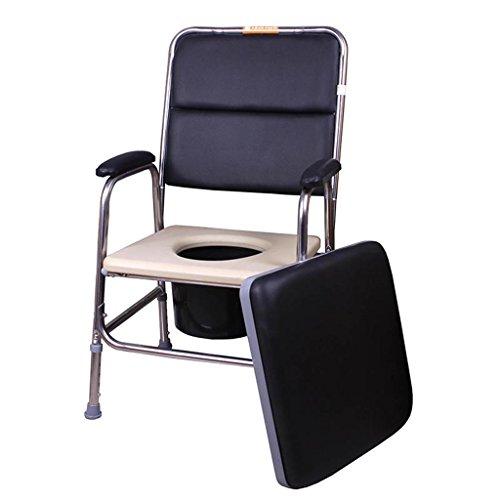LI Jing Shop - Acier Inoxydable Commode Vieil Homme Femmes Enceintes Mobile Toilette Chaise De Bain Double Usage 5 Fichiers Ajuster Taille: 47X45 X92-102 cm