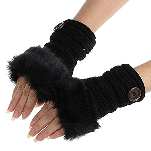 TUDUZ Damen Faux Kaninchen Pelz Winter Warm Fingerlose Fäustlinge Handwärmer Wrist Warmers Handschuhe (G)