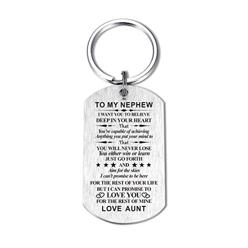 Inspirational Gift for Niece Nephew from Aunt Uncle I Want You to Believe Deep In Heart Keychain for Birthday