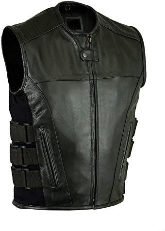 S Mens Motorcycle SWAT style updated tactical leather waistcoat biker vest