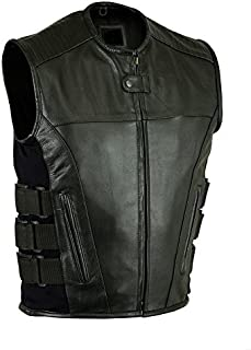 MEN'S MOTORCYCLE BIKER UPDATED TACTICAL SWAT STYLE LEATHER VEST NEW BLACK (4XL, BLACK)