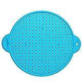 Katigan Protector de Salpicaduras de Silicona MultifuncióN Cubierta de la SartéN Tapa del TazóN TapóN de Derrames Olla Filtro de Pantalla de Salpicaduras Azul