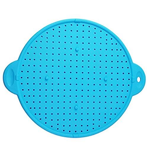 Exanko Protector de Salpicaduras de Silicona MultifuncióN Cubierta de la SartéN Tapa del TazóN TapóN de Derrames Olla Filtro de Pantalla de Salpicaduras Azul