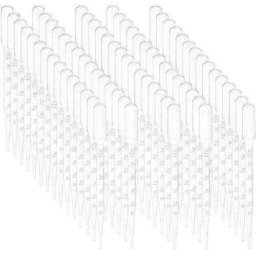 Pipette Kunststoff-Transferpipetten,Pipetten mit ätherischen Ölen,Pipetten-Augentropfen,Einweg-Pipetten für klare flüssige Tropfer,Einweg-Pipetten Einer Länge von 3 ml155(100 Stück pro Packung)