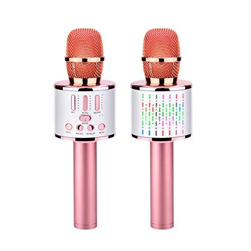 Kriogor Microfono Inalámbrico Karaoke, Micrófono Karaoke Bluetooth Portátil con Luces LED de Baile Compatible con Dispositivos Android e iOS para KTV en Casa/Fiestas/Canto de Niños (Oro Rosa)