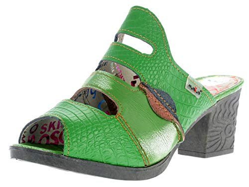 TMA Dvina Damen Pantolette Sabot Leder Damen Sandale Clogs Slipper Frauen Schuhe 1171 (38 EU, grün)