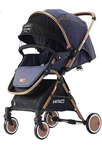 Baciuzzi, passeggino pieghevole con seduta alta e manico reversibile per seduta fronte mamma, completo di accessori e borsa coordinata, Verso Coupè, Jeans