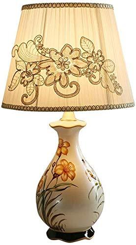 DJSMtd Nordic Ceramica - Mantel con lámpara de tonos claros en el lateral de la lámpara, luces decorativas, pastoral, pintado a mano, salón, dormitorio, desk Lamp E27