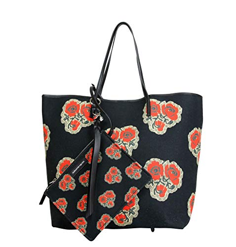 Alexander McQueen Women's Poppies Print Black/Red Vintage Canvas Large Tote Bag 439733 1075