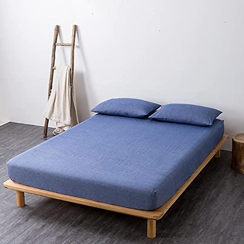 GuLL Sábana bajera ajustable, 100% algodón, para colchón de hasta 30 cm de altura, para cama con somier, azul vaquero, 150 x 200 cm