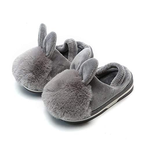 HIUGHJ Zapatos para niños Zapatos para niños Zapatillas de Piso Niños Niñas Zapatos para el hogar Oreja de Conejo Invierno Algodón Zapatos para niños Zapatillas Zapatillas cálidas y Grises, 6