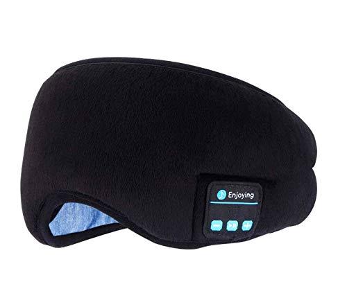Masque Oculaire avec Casque Sans Fil Bluetooth, Endormi Voyage Musique Eye Cover, écouteurs Bluetooth 5.0 avec kit Microphone mains libres, long temps de lecture, noir, réglable et lavable