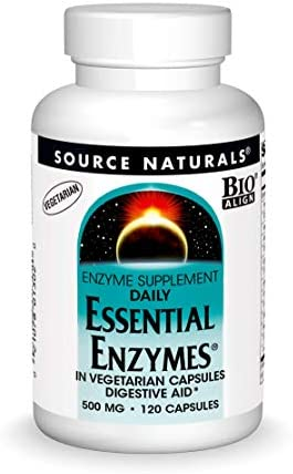 Source Naturals Essential Enzymes 500mg Bio-Aligned Multiple Enzyme Supplement Herbal Defense for Digestion, Gas, Constipation & Bloating Relief - Supports Immune System - 240 Vegetarian Capsules