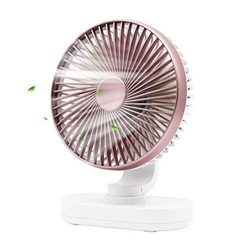 USB Mini Desk Fan,Portable Oscillating Fan with 4 Speeds,6.5-inch Adjustable Quiet Table Fan,Rechargeable Battery Operated Personal Fan for Home Office Bedroom Desktop Table (Rose Gold)