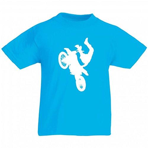 Camiseta de atleta para bicicleta, niño, hombre, motocross, motocross, bicicleta, bicicleta, silhouette, deporte, trick, transporte, vehículo para hombre, mujer, niños, 104 – 5 XL azul Mujer Gr.: XX-Large