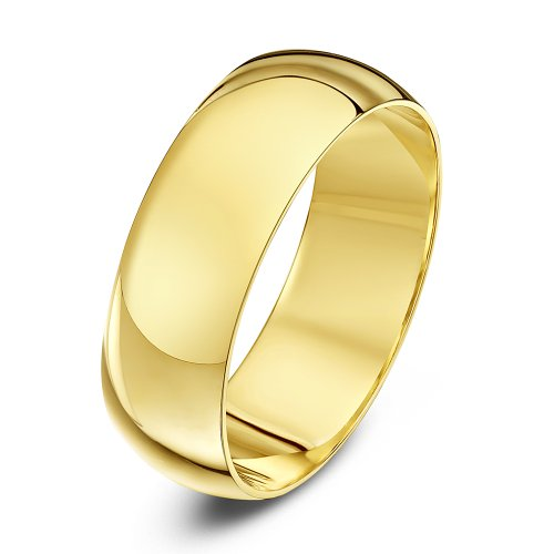 Theia Unisex Super Heavy Weight 7 mm D Shape 9 ct Yellow Gold Wedding Ring - Z+4