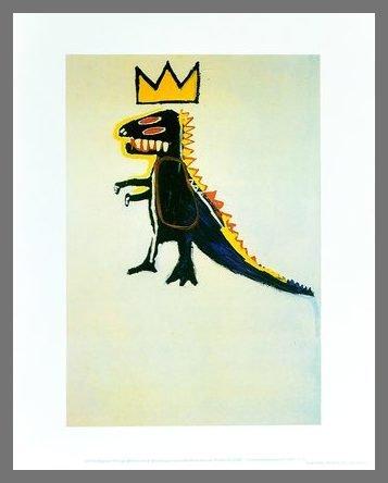 Germanposters Jean-Michel Basquiat Pez Dispenser 1984 Poster con cornice in alluminio color champagne 42 x 34 cm